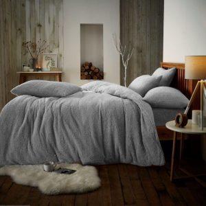 teddy fleece duvet set silver